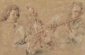 Jean-Antoine Watteau - Two Studies of a Flutist and a Study of the Head of a Boy