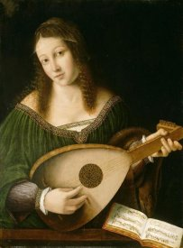 Bartolomeo Veneto and workshop - Lady Playing a Lute