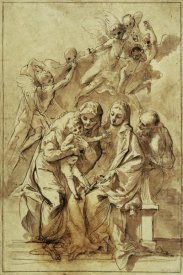 Pietro Testa - Holy Family with Saint Anne (recto); Figure Sketches (verso)