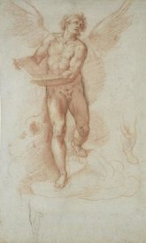Cristoforo Roncalli - An Angel Holding a Book (recto); Three Studies of a Falling Male Figure (verso)