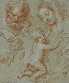 Michel Corneille - Studies of the Madonna and Child and of Heads (recto); Madonna and Child with Saint John Seated in a Landscape (verso)