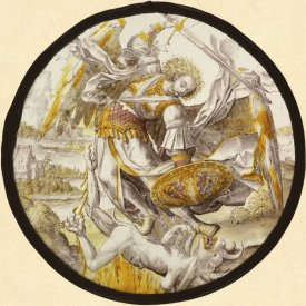 Unknown 16th Century Netherlandish Glassmaker - The Archangel Michael Vanquishing the Devil