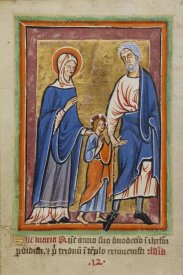 Unknown 12th Century Illuminator - Christ Led to Jerusalem by Mary and Joseph