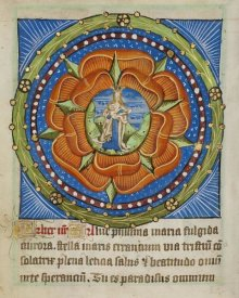 Unknown 12 Century Illuminator - Decorated Text Page - Mary and Jesus in a Rose