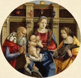 Michelangelo di Pietro Membrini - Madonna and Child with a Male Saint, Catherine of Alexandria and a Donor