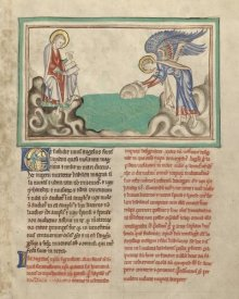 Unknown 13th Century Illuminator - An Angel Casting a Millstone into the Sea