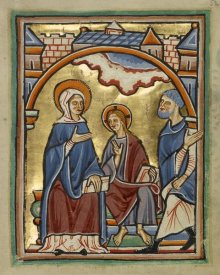 Unknown 12th Century English Illuminator - Christ Blessing His Parents