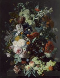 Jan van Huysum - Still Life with Flowers and Fruit, c. 1715