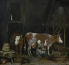 Gerard ter Borch - A Maid Milking a Cow in a Barn