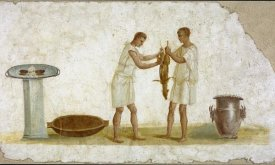 Unknown 2nd Century Roman Artisan - Fragment of a Fresco Panel with a Meal Preparation