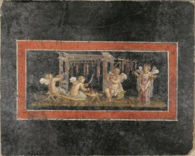 Unknown 1st Century Roman Artisan - Fresco Fragment with Four Cupids Hanging Garlands