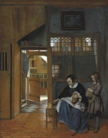 Pieter de Hooch - A Woman Preparing Bread and Butter for a Boy