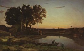 Jean-Baptiste-Camille Corot - Landscape with Lake and Boatman