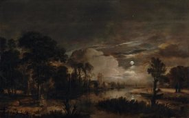Aert van der Neer - Moonlit Landscape with a View of the New Amstel River and Castle Kostverloren
