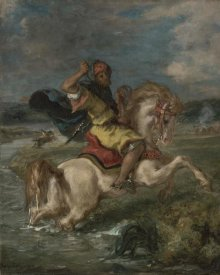 Eugene Delacroix - Moroccan Horseman Crossing a Ford