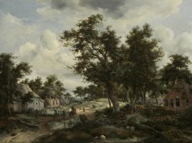 Meindert Hobbema - A Wooded Landscape with Travelers on a Path through a Hamlet