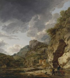 Herman Nauwincx and Willem Schellinks - Mountain Landscape with River and Wagon