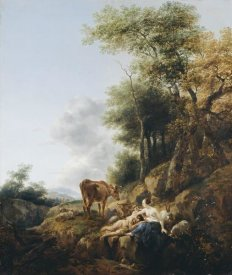 Nicolaes Berchem - Landscape with a Nymph and a Satyr