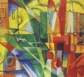 Franz Marc - Landscape with House, Dog and Cattle, 1914