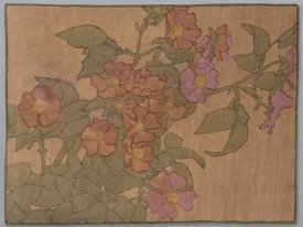 Hannah Borger Overbeck - Pink Roses on Terracotta Color Ground