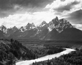 Ansel Adams - View from river valley towards snow covered mountains, river in foreground, Grand Teton National Park, Wyoming , 1941