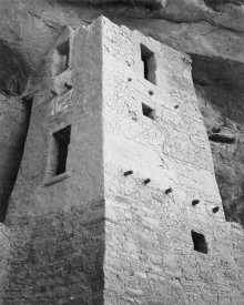 Ansel Adams - View of tower, taken from above, Cliff Palace, Mesa Verde National Park, Colorado, 1941
