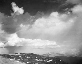Ansel Adams - Mountain tops, low horizon, dramatic clouded sky, in Rocky Mountain National Park, Colorado,  ca. 1941-1942