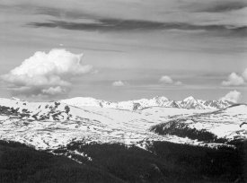 Ansel Adams - View at timberline, dark foreground, light snow capped mountain, gray sky, in Rocky Mountain National Park, Colorado, ca. 1941-1942