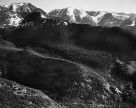 Ansel Adams - View of wooded hills with mountains in background, in Rocky Mountain National Park, Colorado, ca. 1941-1942