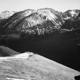 Ansel Adams - Panorama of barren mountains and shadowed valley,  in Rocky Mountain National Park, Colorado, ca. 1941-1942