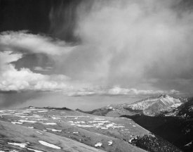 Ansel Adams - Mountain tops, low horizen, low hanging clouds,  in Rocky Mountain National Park, Colorado, ca. 1941-1942