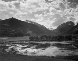 Ansel Adams - Lake and trees in foreground, mountains and clouds in background, in Rocky Mountain National Park, Colorado, ca. 1941-1942