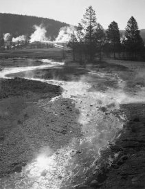 Ansel Adams - Stream winding back toward geyser, Central Geyser Basin, Yellowstone National Park, Wyoming, ca. 1941-1942
