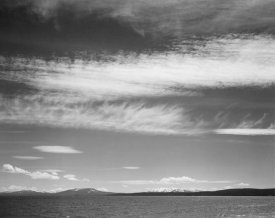 Ansel Adams - Lake, narrow strip of mountains, low horizon, Yellowstone Lake, Yellowstone National Park, Wyoming, ca. 1941-1942
