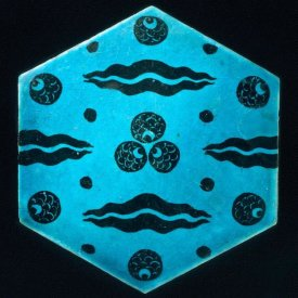 Unknown 17th Century Syrian Artisan - Blue Hexagonal Tile