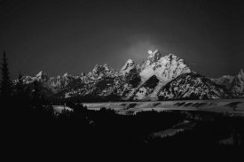 Raymond Salani Iii - Full Moon Sets In The Teton Mountain Range