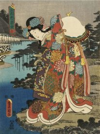 Utagawa Kunisada (Toyokuni III) - Costumes in Five Different Colors - Red (Aka)