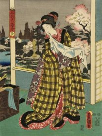 Utagawa Kunisada (Toyokuni III) - Costumes in Five Different Colors - Yellow (Ki)