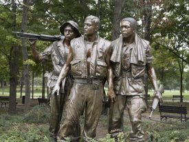Carol Highsmith - Vietnam memorial soldiers by Frederick Hart, Washington, D.C.