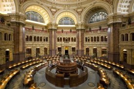 Carol Highsmith - Main Reading Room. View from above showing researcher desks. Library of Congress Thomas Jefferson Building, Washington, D.C.