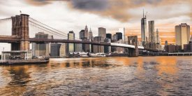 Pangea Images - Brooklyn Bridge and Lower Manhattan at sunset, NYC
