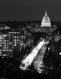 Carol Highsmith - Dusk view of Pennsylvania Avenue, America's Main Street in Washington, D.C. - Black and White Variant