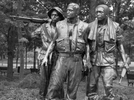 Carol Highsmith - Vietnam memorial soldiers by Frederick Hart, Washington, D.C. - Black and White Variant