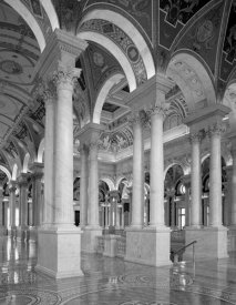 Carol Highsmith - Great Hall, second floor, north. Library of Congress Thomas Jefferson Building, Washington, D.C. - Black and White Variant