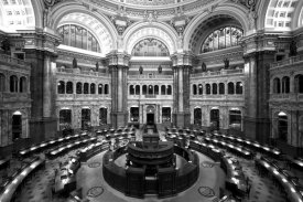 Carol Highsmith - Main Reading Room. View from above showing researcher desks. Library of Congress Thomas Jefferson Building, Washington, D.C. - Black and White Variant