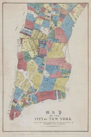 New York Common Council - Map of the City of New York showing original high water line and the location of different Farms and Estates, 1853