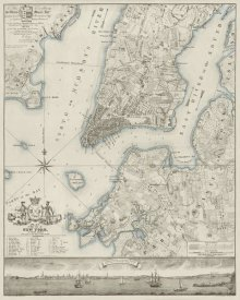 New York Common Council - Plan of the City of New York, copied from the Ratzer Map - Decorative Blue Shading