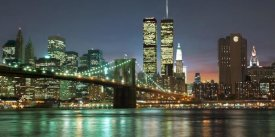Mancini - The Brooklyn Bridge and Twin Towers at Night
