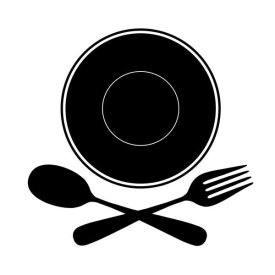 BG.Studio - Mealtime: Black on White - Plate with Crossed Cutlery