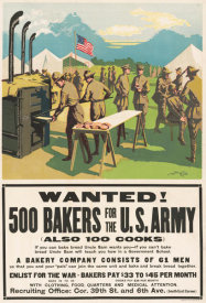 Dewey - Wanted! 500 Bakers for the U.S. Army, (Also 100 Cooks), 1917